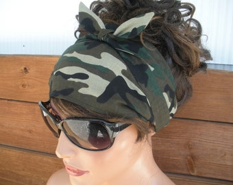 Fabric Headband Womens Headband Summer Fashion Accessories Women Headscarf Yoga Headband Bandana in Camouflage Bandana