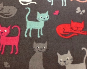 Fat quarter makower cotton fabric 1452 cats scatter in black