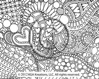 instant pdf download coloring page hand drawn zentangle inspired psychedelic bubbles abstract zendoodle doodle hippie by kat
