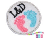 L&D Circle with Baby Feet on White Felt Embroidered Embellishment Clippie Cover SET of 4 - Multiple Sets Available - Labor and Delivery