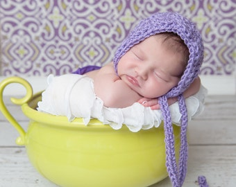 Textured Newborn Crochet Bonnet