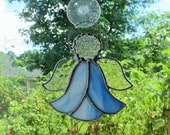 "Stained Glass Angel in Blue and White Swirl Opalescent Glass w/Clear Granite Glass Wings - Suncatcher 5"" x 4.5"""