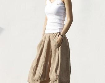 Romantic Bud Skirt Summer Skirt Linen Skirt in Khaki - NC046