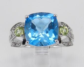 Cushion Cut Blue Topaz Peridot Diamond Engagement Ring 10K White Gold Size 7