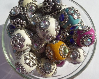 20mm Indonesian Chunky Beads, 4ct, Mixed Color rhinestone accents, S32