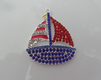 SaLe!!! 43mm Red, White and Blue Sailboat Rhinestone and Enamel Pendant, P20