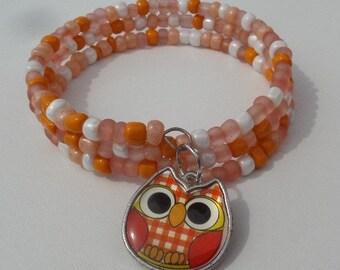 Orange and White Owl Wire Wrap bracelet, whimsical, bracelet, Orange Owl bracelet, memory wire bracelet