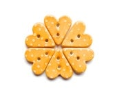 Mustard Yellow Polka Dot Heart Button Handmade Ceramic X 1