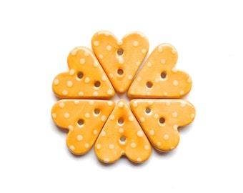 Mustard Yellow Polka Dot Heart Button Handmade Ceramic X 1