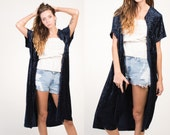 Vintage 90's Midnight Blue Velvet Maxi Duster