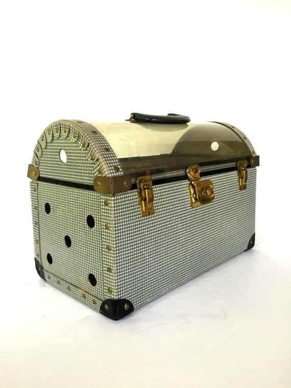 VintageVintag 1950s Pet Carrier , Mid Century Tote , Hounds tooth  , Cat Traveler ,  FC&N Co.