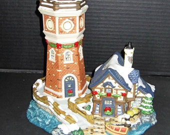 Christmas Fishing Village with Lighthouse