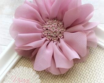 Dusty Rose Chiffon Flower Hair Clip, Chiffon Flower, Mauve Rosette, Flower Girl Hair Clip, Toddler Hair Clip, Wedding, Photography Prop