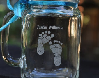 Mother's Day New Mother Mason Jar with Baby Boy Footprints Personalized with Name, Optional 2 Sided Mason Jar Engraving
