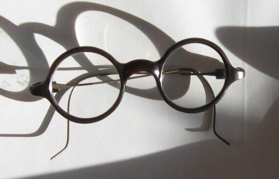 Eyeglass Frame Pieces : Antique Bakelite Round Childs Eyeglass Frames w/