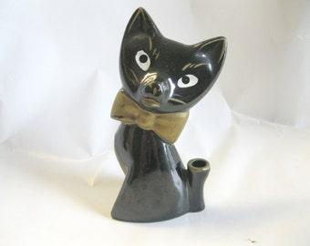 Vintage Black Ceramic Cat Pen Holder, Made in Japan, Gold Bow Tie and Gold Accents, 1960's