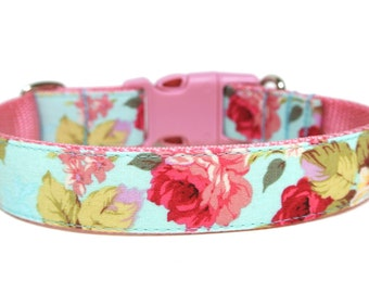 "Aqua Dog Collar 1"" Flower Dog Collar"