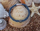 Grey Leather Kumihimo Bracelet with magnetic clasp