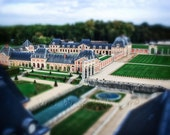 Tilt Shift Photo, Architecture Art, Landscape Photo, Square Print, Miniature Building Photo, Green and Red Decor, French Home, Wall Art