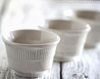 Still Life Photograph, Kitchen Wall Art, Vintage French Custard Cups, Ivory Home Decor, Kitchen Print, Cream Kitchen Decor, Cooking Art