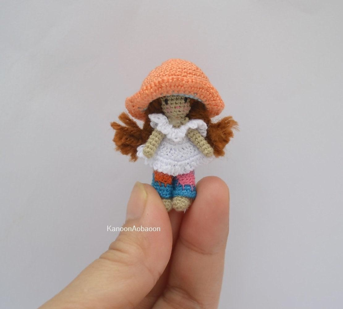 Crochet girl doll Miniature crochet doll Holly Hobbie