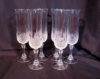 """Crystal Champagne Flutes by Cristal d'Arques """"Longchamp"""""""