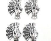 Hand Fan Stampings, Oriental Fan, Jewelry Making, Silverware Silverplate, Antique Silver, Bsue Boutiques, 27 x 19mm, Item03386