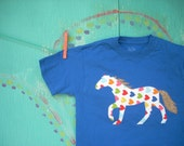 Appliqued Horse Tee, Horse T-shirt, Horse Applique, Children's Boy's Girl's Custom Horse Shirt, Made-to-Order, Animal T-shirt, Birthday Gift
