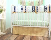 Aztec Bumperless Crib Bedding with Navy, Mint and Gold with Teepee Crib Skirt, Metallic Gold Sheet, Triangle Print Sheet