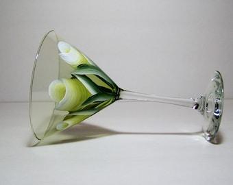 Green martini glass hand painted