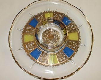 Vintage, Culver Prado, Blue and Yellow, Chip and Dip Set, Platter, Bowl