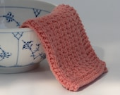 Hand knitted baby wash cloth - soft cotton light coral