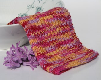 Hand knitted dish cloth - wash cloth - soft cotton orange pink lilac red multicolored