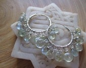 Wire wrapped moss aquamarine hoop earrings / aquamarine earrings gemstone hoop earrings Hill Tribe fine silver