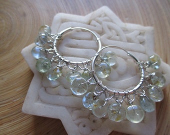 SALE Wire wrapped moss aquamarine hoop earrings / aquamarine earrings gemstone hoop earrings Hill Tribe fine silver