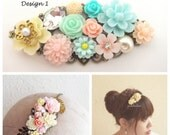 Wedding Headband Bridal Fascinator Floral Hairband Pastel Color Romantic Headpiece Elegant Flower Crown Whimsical Tiara Soft Blush Pink Mint