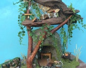 Frairy Garden House with Furniture // Hypertufa Cave and Driftwood Tree