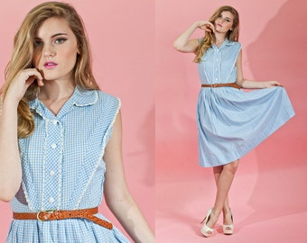 Vintage 1950s Light Blue Plaid Collar Lace Dress