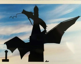 Metal Dragon, Blank Greeting Card, Welding, Sculpture, Photograph, Any Occasion, Birthday, Graduation, Twilight, Evening, Silhouette, Fire