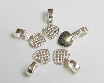 20 Heart glue on bails small shiny silver plated 16x8mm  DB61626