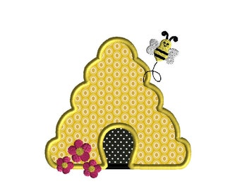 Bee Hive Applique Machine Embroidery Design-INSTANT DOWNLOAD