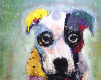 """Print Dog  """"Caleb""""  Beautiful Giclee vibrantly colored, Boxer Pit Bull Canine Chigiri-e Torn Paper Art Collage Mixed Media"""