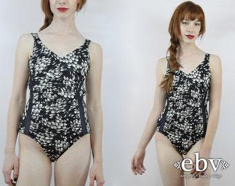Vintage 50s Black Floral One Piece Bathing Suit S Floral Swimsuit Black Swimsuit Floral Bathing Suit 50s Swimsuit One Piece Swimsuit