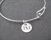 13.1 HALF MARATHON Expandable Bangle Bracelet - Sterling Charm with Silver Plated Expandable Bracelet - Half Marathon Expandable Bracelet