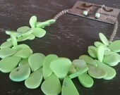 Lime Green Statement Necklace Magnesite beads Jewelry Set