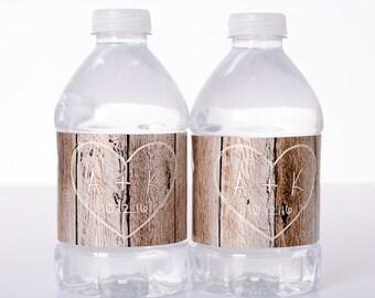 50 Wedding Water Bottle Labels - Wedding Water Labels - Custom Water Bottle Labels - Rustic Vintage Wedding Stickers