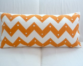 Orange and ivory chevron large lumbar pillow cover