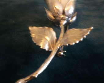 Innvaolo Gold Long Stemmed Rose Brooch