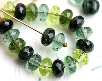 Green beads mix, Czech glass, Woodland green, olivine, jewelry making, green spacers, rondelle, rondel beads - 4x7mm - 25Pc - 2142