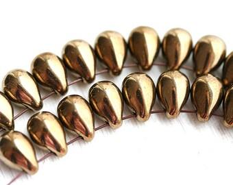 Old gold beads, Teardrops, Czech beads, dark golden glass beads, drop beads, pressed beads - 6x9mm - 20pc - 2208